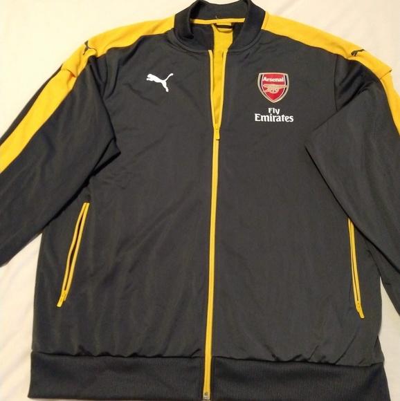 NWT - Arsenal Puma Stadium Jacket Grey/Yellow XXL